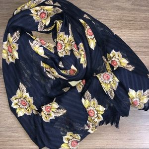 Accessories - Floral Rectangle Scarf Lightweight Navy Pink